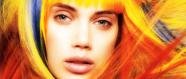 model with colored hair
